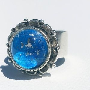 Handmade Blue Floral Ring in Silver